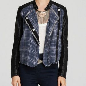 Free People Plaid Vegan Leather Moto asymmetrical Button Up Jacket